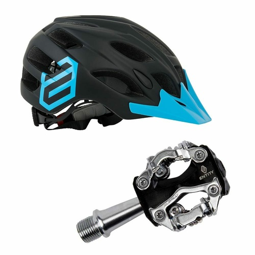 Entity MH15 Mountain Bike Helmet + Entity MP15 Shimano SPD Mountain Bike Pedals - Bundle